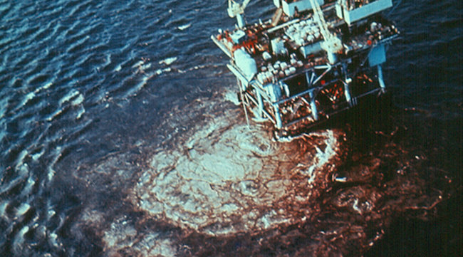 """""""Union Oil's Platform A blew out on January 28, 1969, six miles off the Santa Barbara coast. The spill fouled 35 miles of southern California coastline."""""""