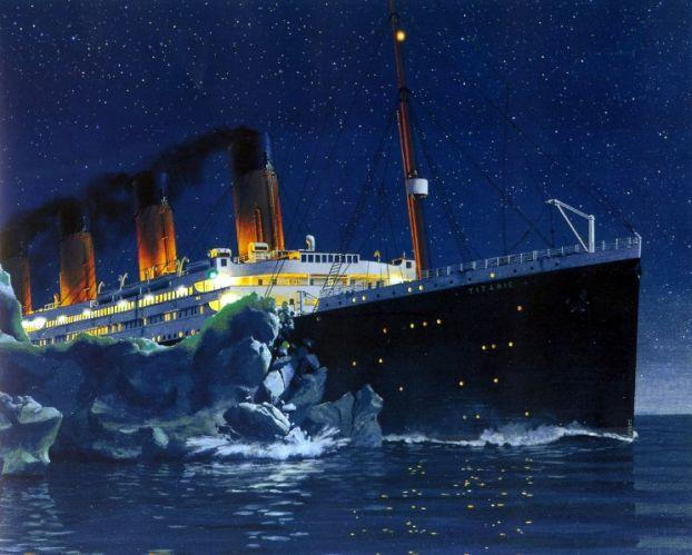titanic-hitting-theiceberg