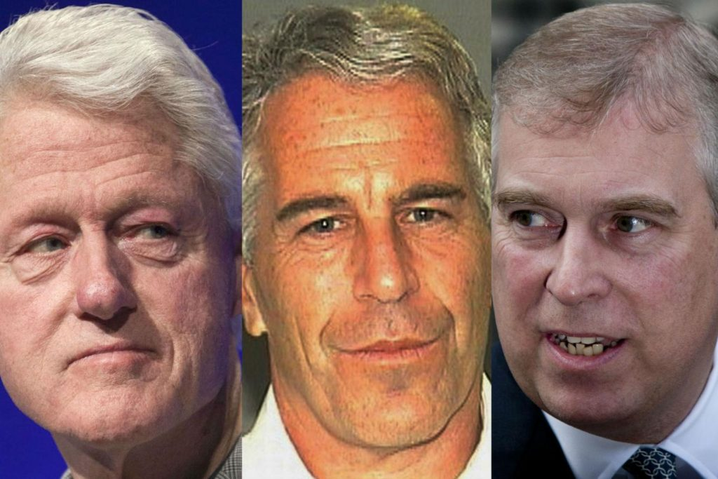 Epstein (C) is being accused of sexual abuse by Virginia Roberts, having previously pleaded guilty in 2008 to soliciting prostitution with a minor and was jailed for 18 months. Former president Bill Clinton (L) and Prince Andrew (R) have all been known to spend time with the billionaire. REUTERS, AP