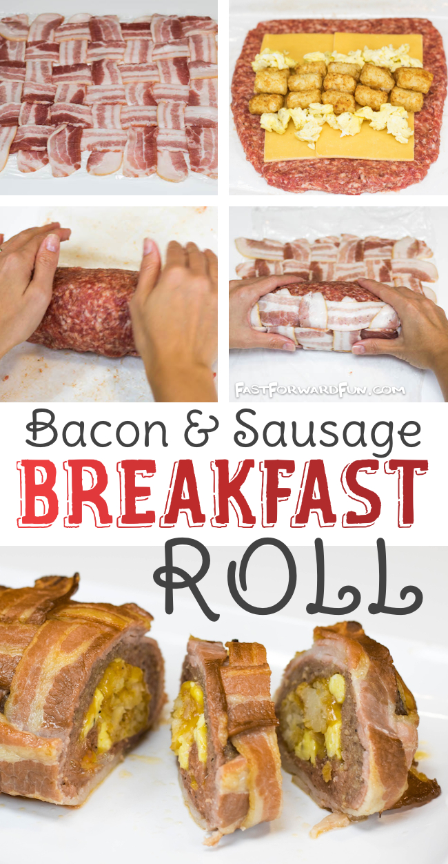 Bacon And Sausage Breakfast Roll (Fun video tutorial and step-by-step photos!) Fast Forward Fun