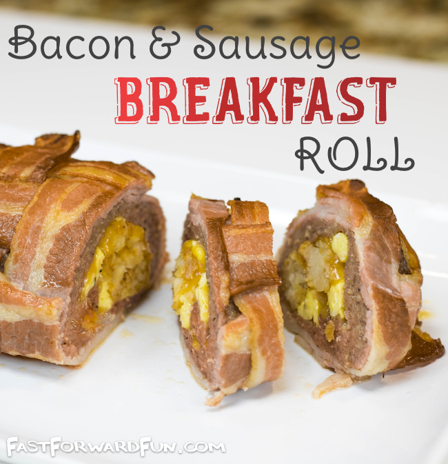 Bacon and Sausage Breakfast Roll (Like sushi!). Super fun video tutorial and lots of pics.