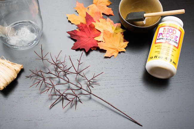 DIY Fall Leaf Mason Jar Candle Holder