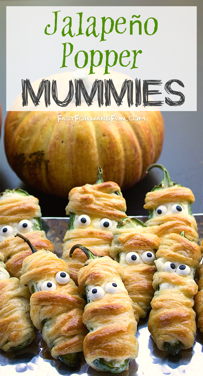 Super fun and easy Halloween snack idea! Jalapeño Mummies (video tutorial and step-by-step photos) Fast Forward Fun