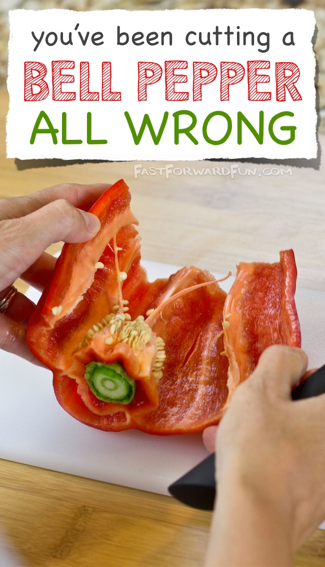 The easiest way to cut a bell pepper! (super fun video tutorial and step-by-step photos). Wish I had known this years ago! | Fast Forward Fun