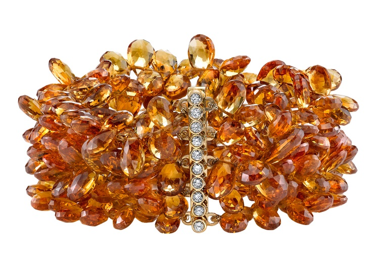 CITRINE BRACELET Citrine bracelet featuring 18K Yellow Gold clasp with .05 ctw. of Diamonds.