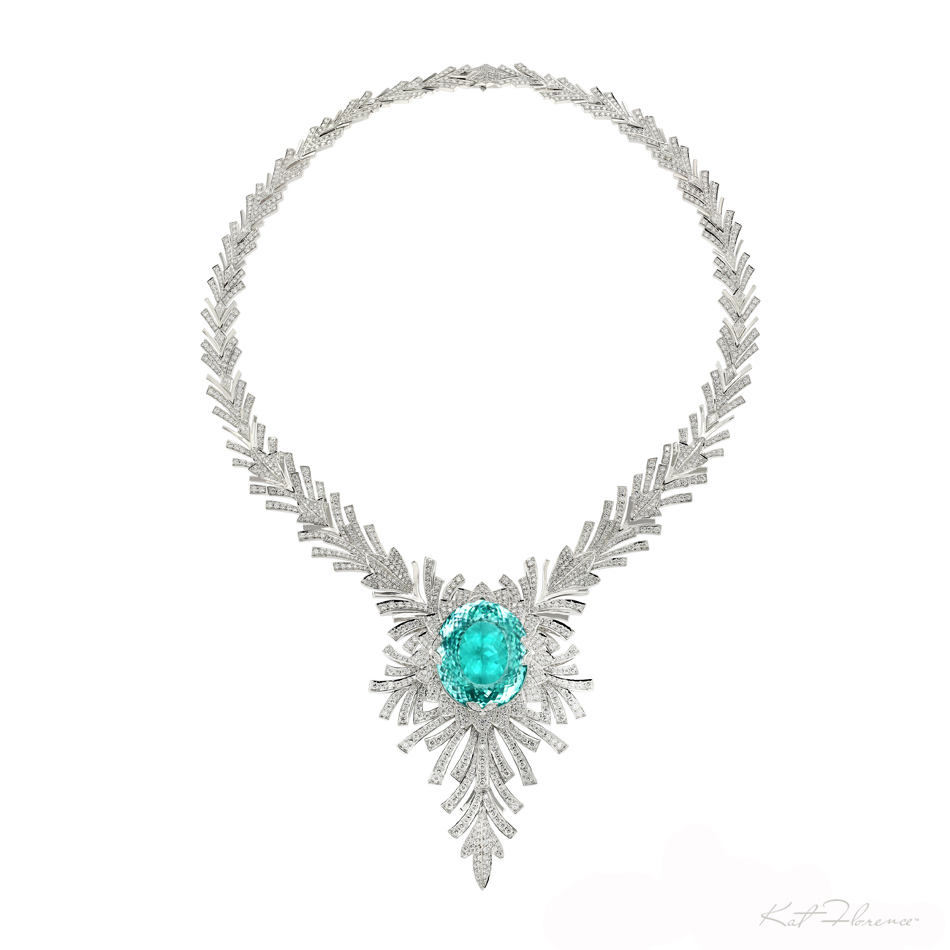 Unique 98.50 carat Paraiba Tourmaline necklace by Kat Florence. The necklace includes 145 grams of 18k gold, 1842 diamonds including 23.84 carats of VVS1 diamonds and the 98.50carat Paraiba Tourmaline center piece.