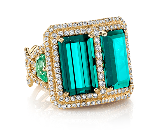 DOUBLE TROUBLE RING 18K Yellow gold ring featuring 11.81 ctw. of Indicolite Tourmalines 2.60 ctw. of Mint Tourmalines with 1.73 ctw. of Diamonds.