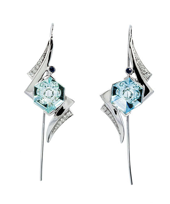 FANCY AQUAMARINE EARRINGS 14kt white gold earrings featuring 4.39ctw fancy cut aquamarines, 0.14ctw white diamonds, and sapphires.