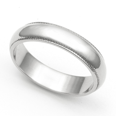 Milgrain Wedding Ring 4.5mm 14K Gold