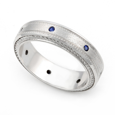 Bezel set Blue Sapphire Semi Eternity Cord Design Ring 14K White Gold