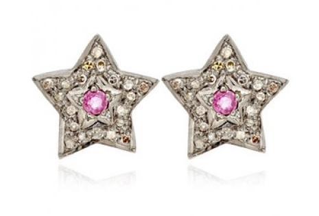 Star Grey Diamond And Ruby Sterling Silver Studs Oxidised