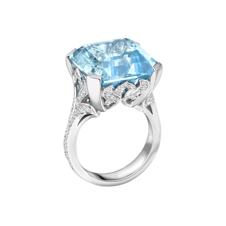 Platinum ring set with a fine 15.98ct Asscher cut Aquamarine and 0.64cts of white diamonds