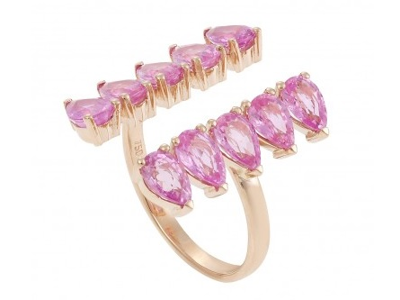 18K Rose Gold Ring With Pink Sapphires