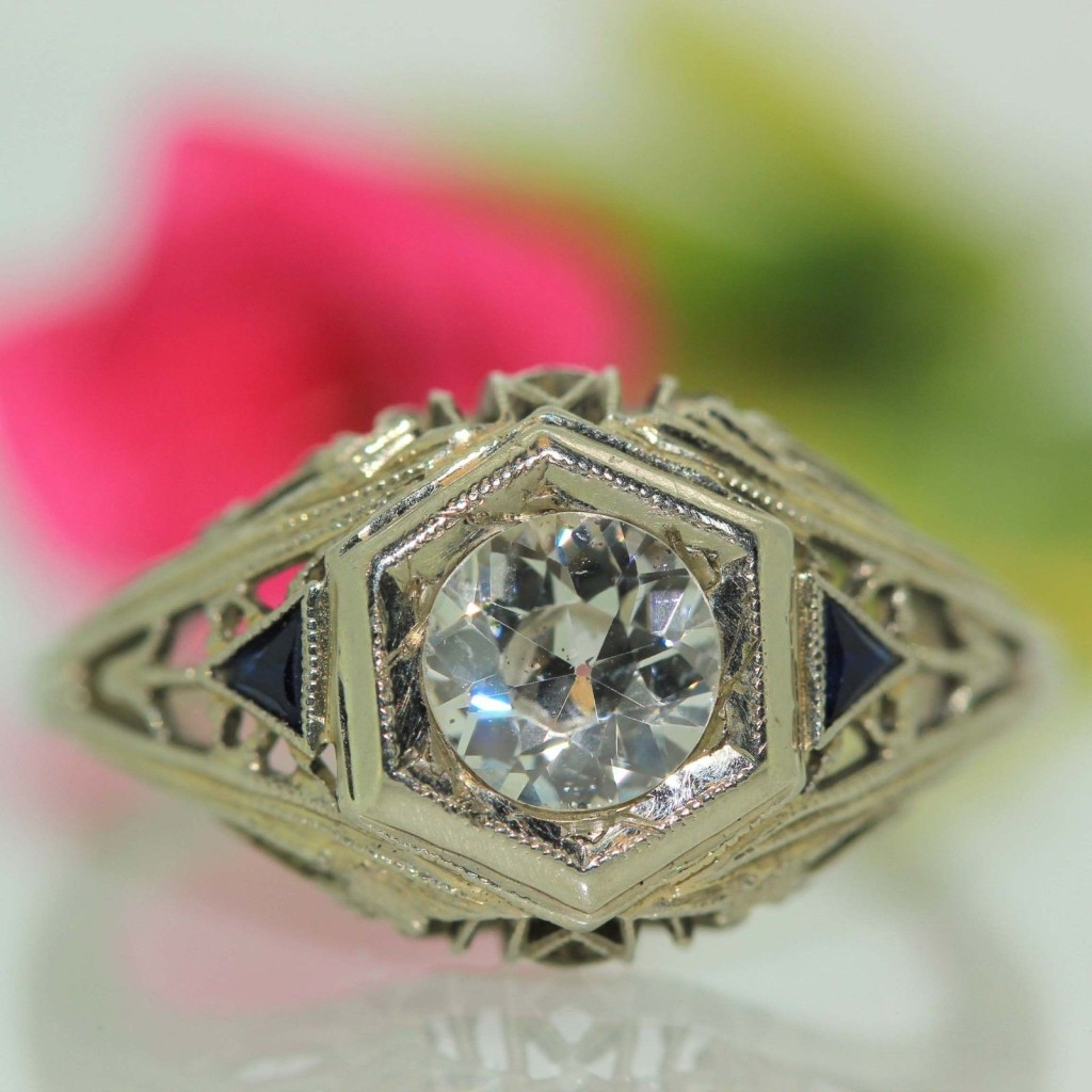 Antique 18k White gold Natural Blue Sapphire & Old Mine Cut Diamond band ring