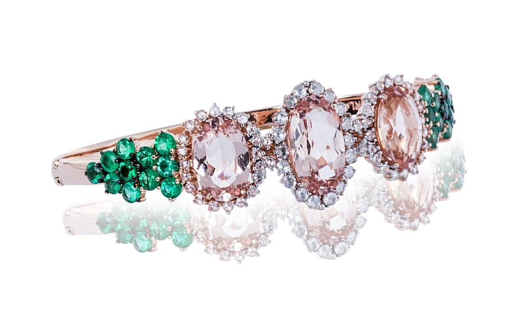 Three Wishes Bracelet rose gold with emerald, morganite and diamond rose cuts.