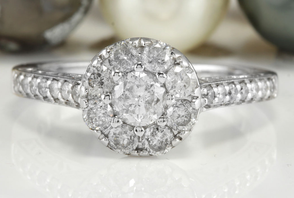 1.20 CTW Estate Natural DIAMONDS in 10K Solid White Gold Women Ring