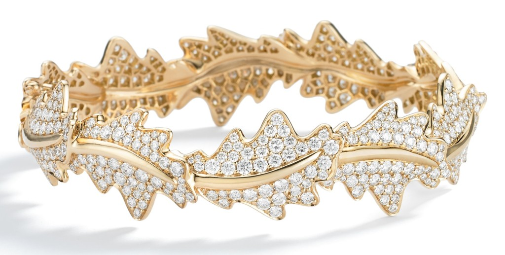 Oak Leaf Bangle, Pavé Diamond Intertwining oak leaves with pavé diamonds set in 18ct yellow gold