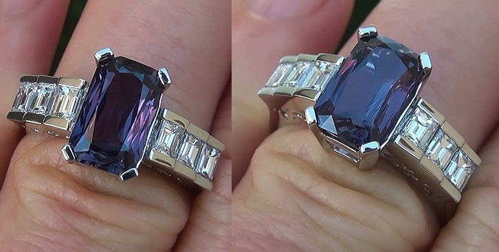 A Stunning 3.54 Carat GIA Certified Unheated & Untreated Natural Color Change Sapphire & Diamond Ring. GIA has noted that this exceptionally rare Color Change gemstone is unheated, making it one of the most collectible of all sapphires given its near flawless VVS1 clarity