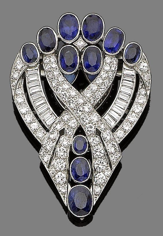 An art deco sapphire and diamond clip brooch, by J R Ogden & Sons, circa 1935.