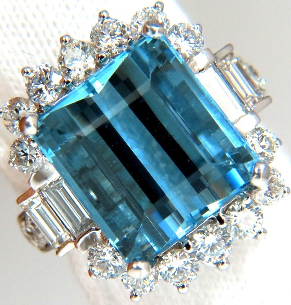 Baguettes & Rounds Raised Modern Natural Aquamarine diamonds ring