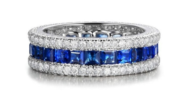 B-Ring Blue Sapphire/White Rings White Gold Filled Fine Jewelry For Women Engagement Wedding Bridal