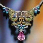 Van Cleef & Arpels Peacock Décor necklace, from the Bals de Légende collection, with a 27.75-carat pear-shaped morganite, diamonds, turquoise, multicolour sapphires, and mandarin and tsavorite garnets set in 18-karat white and yellow gold.