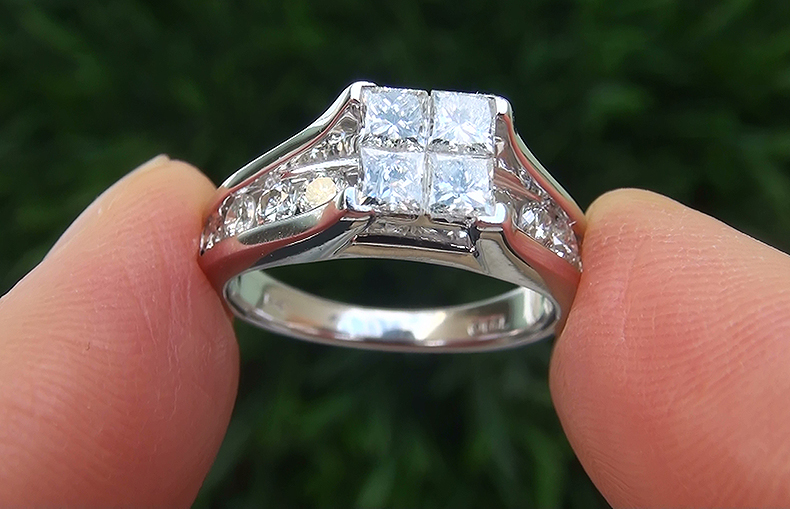 Estate 1.55 ct SI1/G Natural Diamond Engagement Wedding 14k White Gold Ring