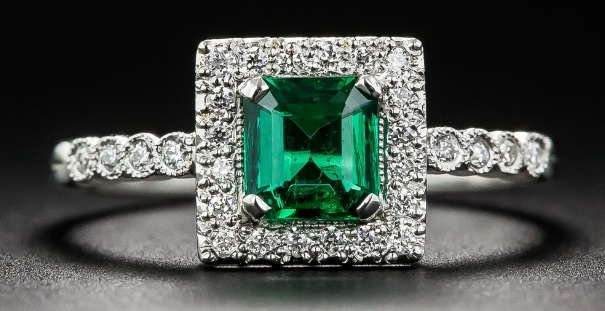 .61 Carat Emerald and Diamond Platinum Halo Ring