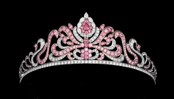 The Argyle Pink Diamond Tiara Displaying 20 Carats of Rare Pink Diamonds