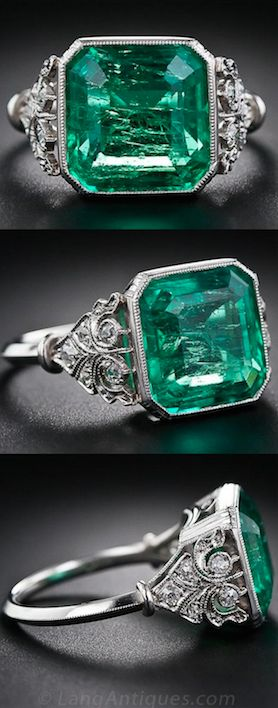 5.31 Carat Emerald and Edwardian Diamond Ring