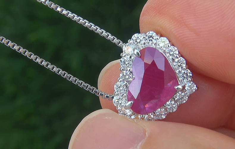 GIA 4.55 ct UNHEATED Natural VVS2 Red Ruby Diamond PLATINUM Pendant Necklace