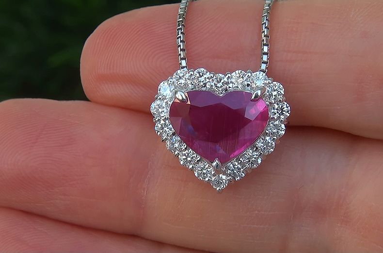 GIA 4.55 ct UNHEATED Natural VVS2 Red Ruby Diamond PLATINUM Pendant Necklace GEM