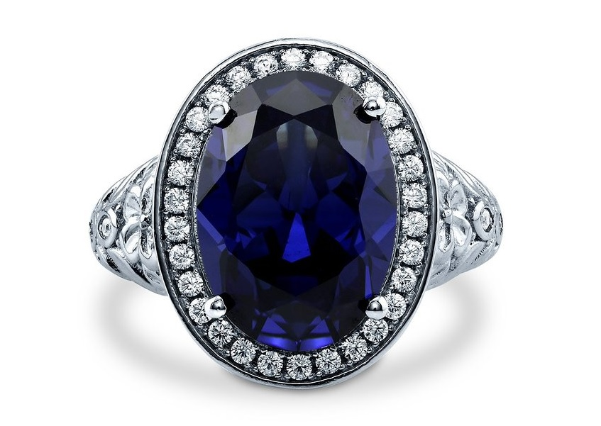 Sterling Silver Oval Simulated Blue Sapphire Cubic Zirconia CZ Halo Art Deco Cocktail Ring