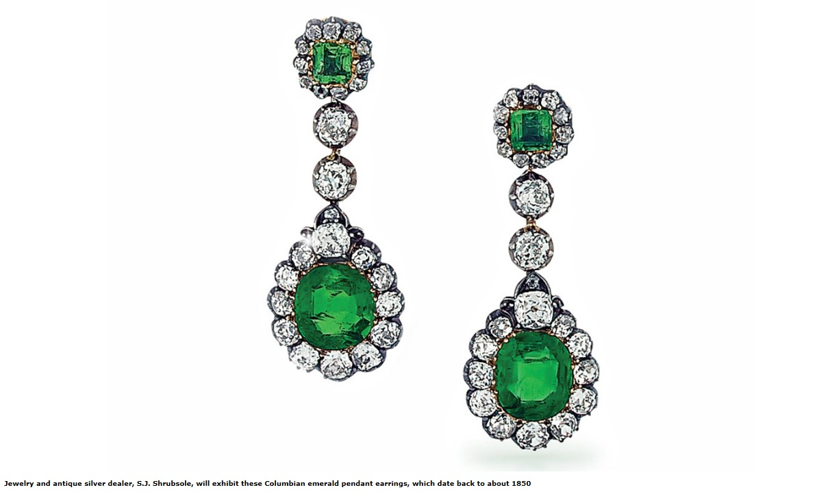 Columbian emerald pendant earrings