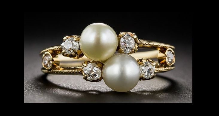 Antique Natural Pearl and Diamond Two-in-One Ring, 19th-century Victorian treasure