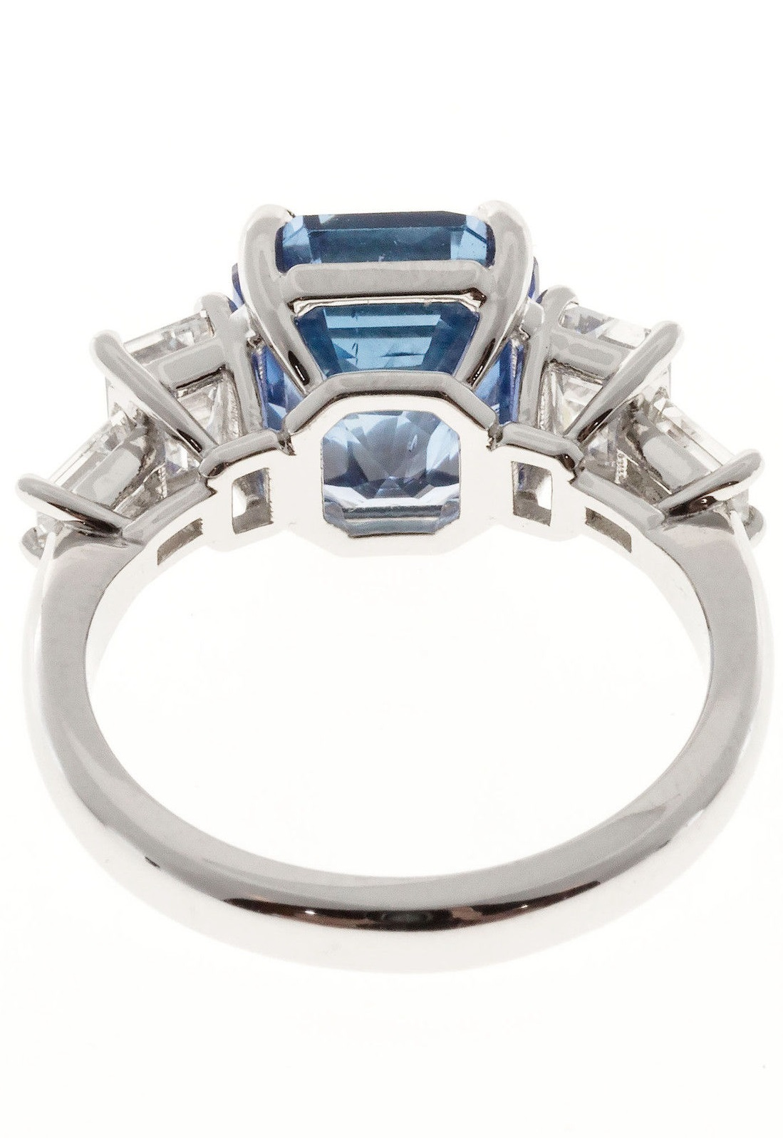 Natural Emerald Cut Sapphire Diamond Engagement Ring Platinum