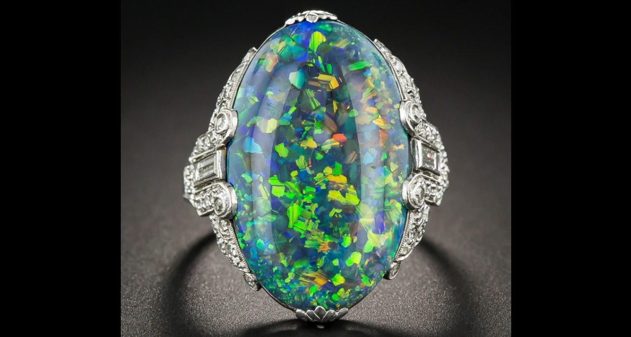 Black Opal and Platinum Diamond Art Deco Ring by Brock & Co.