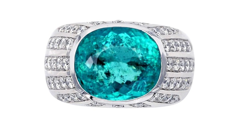 Paraiba Tourmaline Diamonds Gold Ring $65,509.64