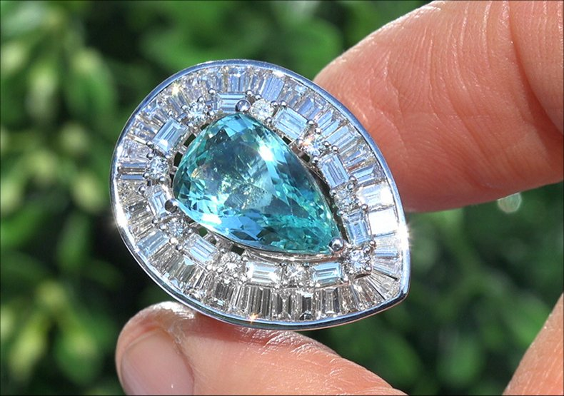 AIGS 7.94 ct VVS Natural Paraiba Tourmaline Diamond 14k White Gold Estate Ring