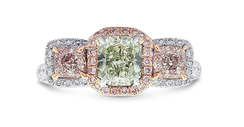 2.2Cts Green Pink Diamond Engagement Extraordinary Ring Set in 18K White Rose