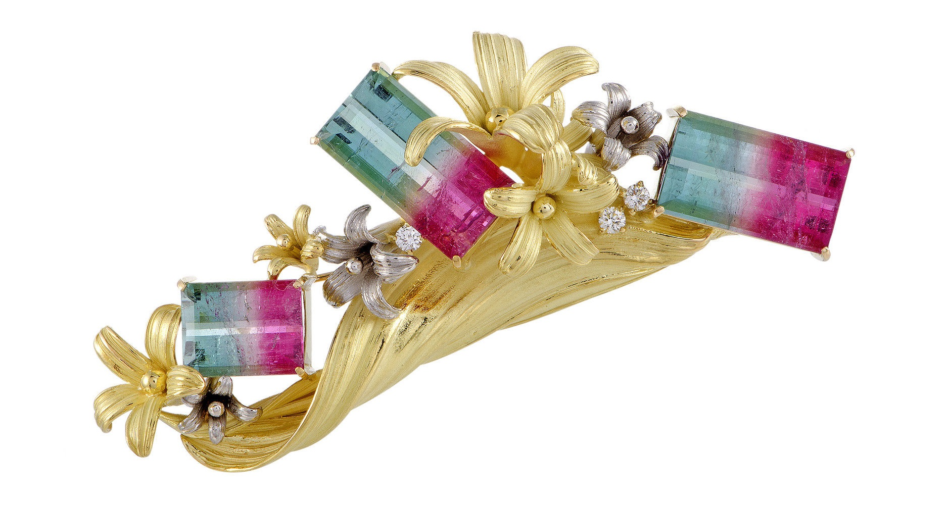 Platinum 18K Yellow Gold Diamond and Watermelon Tourmaline Floral Brooch
