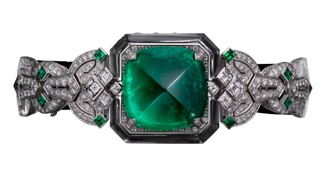 CARTIER High Jewellery Secret Watch - CRHPI00787- Quartz movement- Gray Gold, Emerald, Diamonds, Onyx and Rock Crystal.
