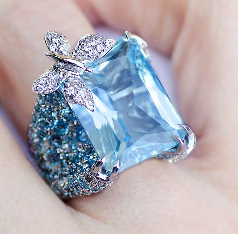 Adolfo Courrier Blue Sapphire and Diamond Butterfly Ring
