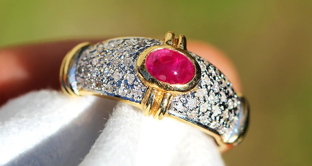 Vintage Cabochon Ruby Ring with Diamonds in 14kt Two Tone Gold .75ctw