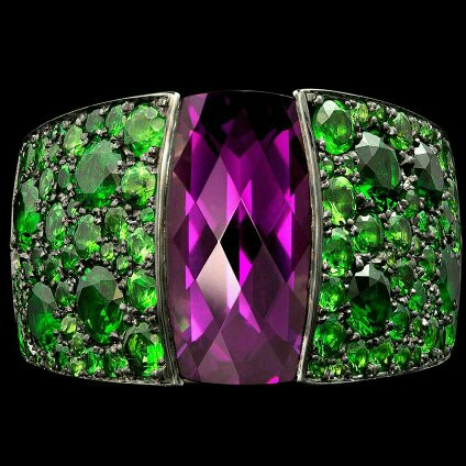 A Gorgeous Amethyst and Tsavorite Garnet Ring