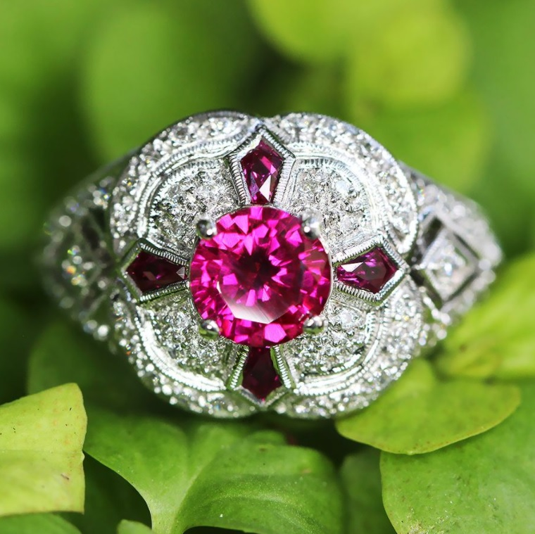 Ruby Filigree Ring with Pentagonal Rubies & Diamonds 18K White Gold 1.94ctw