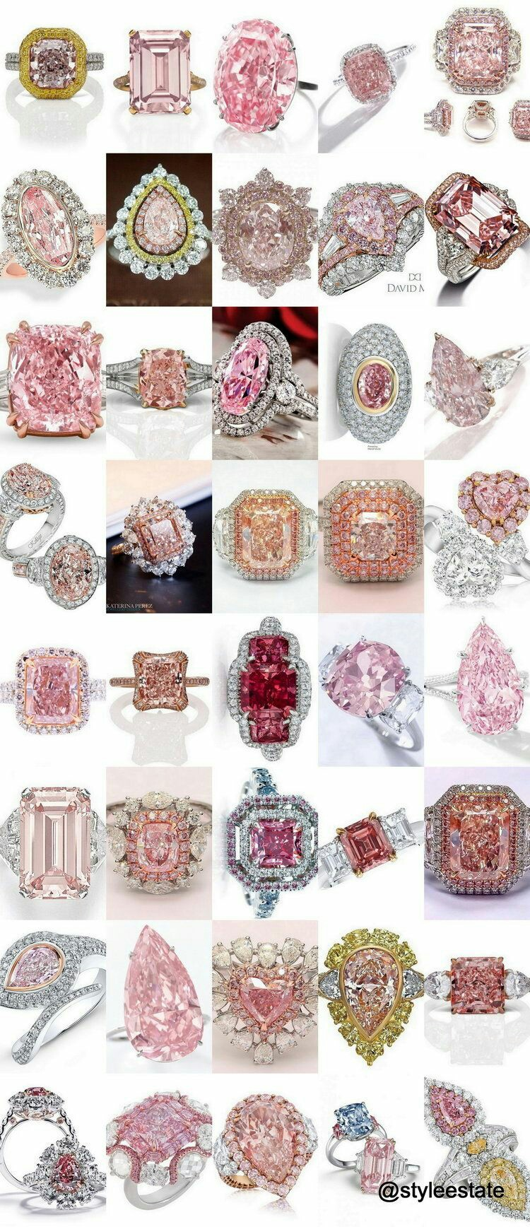 Fifty Fancy Pink Diamond Rings at The Private Collection