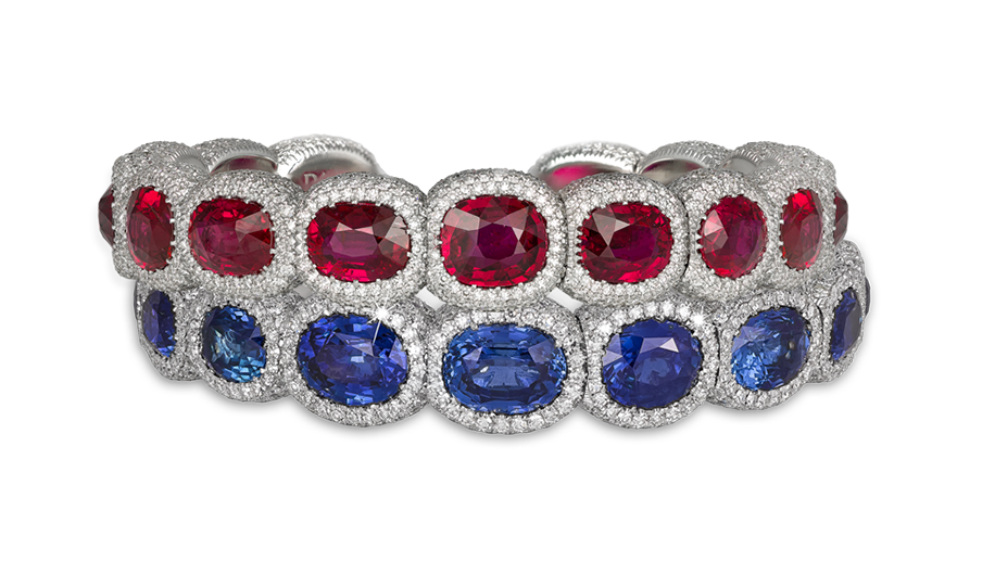 Natural Mozambique oval-cut ruby & diamond flexi bangle – Total Ruby weight 32.02cts Natural Madagascan & Burma oval-cut sapphire & diamond flexi bangle – Total Sapphire weight 35.52cts