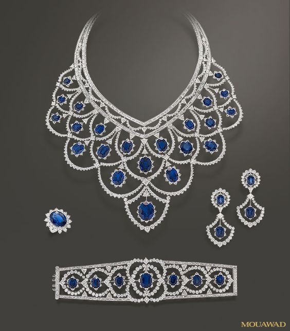 Mouawad Jewelry – Haute Joaillerie 18k White Gold Diamond & Blue Sapphire Set with Bib Necklace, Bracelet, Earrings and Ring