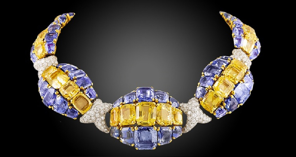 DAVID WEBB Diamond, Blue and Yellow Sapphire Necklace